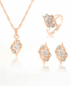3-Pieces Rhinestone Studded Rose Gold Women Jewelry Gift Set