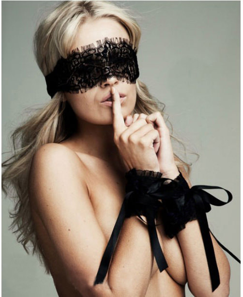 Black Lace Eye Covers + One Pair Of Sexy Lace Wrist Cuffs, 50 Shades of Grey Fun