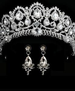Bridal Wedding Tiara Headband with Earrings