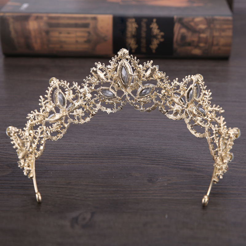 HTB1GHOvQpXXXXbhXXXXq6xXFXXX1 Gold Crown Princess Tiara Headband, Vintage Baroque Diadem Crown For Women + 2 FREE Hair Pins