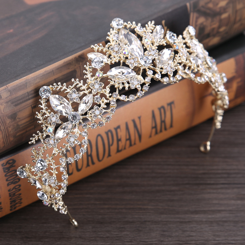 HTB1KKJLQpXXXXb.apXXq6xXFXXXY Gold Crown Princess Tiara Headband, Vintage Baroque Diadem Crown For Women + 2 FREE Hair Pins