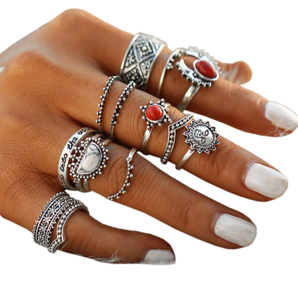e57e2762f02d6 Hip 14-Pieces Tribal Boho Vintage Silver Moon And Sun Knuckle Ring ...