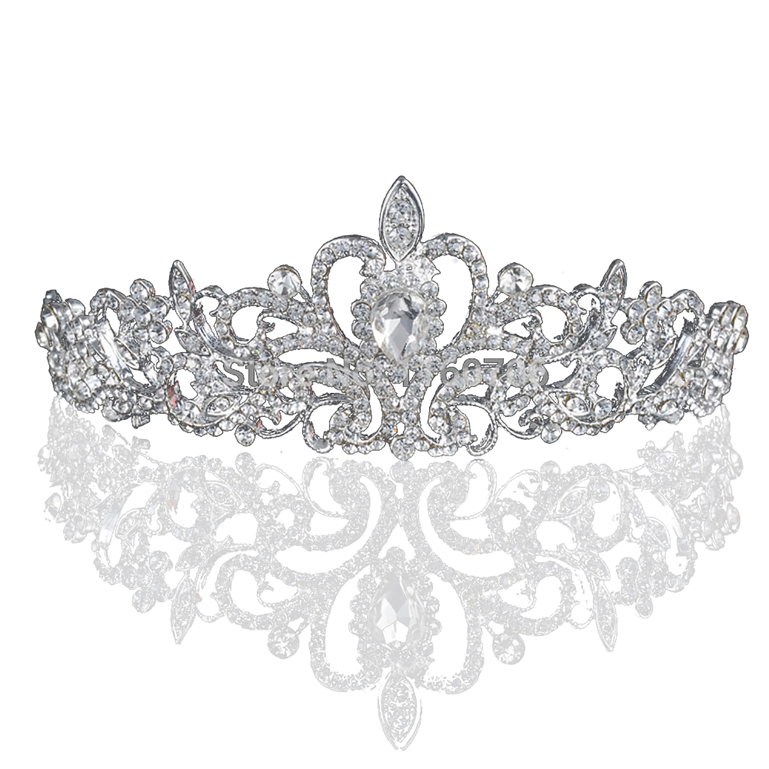 Hairstyles With Crown Queen: Magnificent Bridal Prom Pageant Crystal Inlaid Queen Tiara