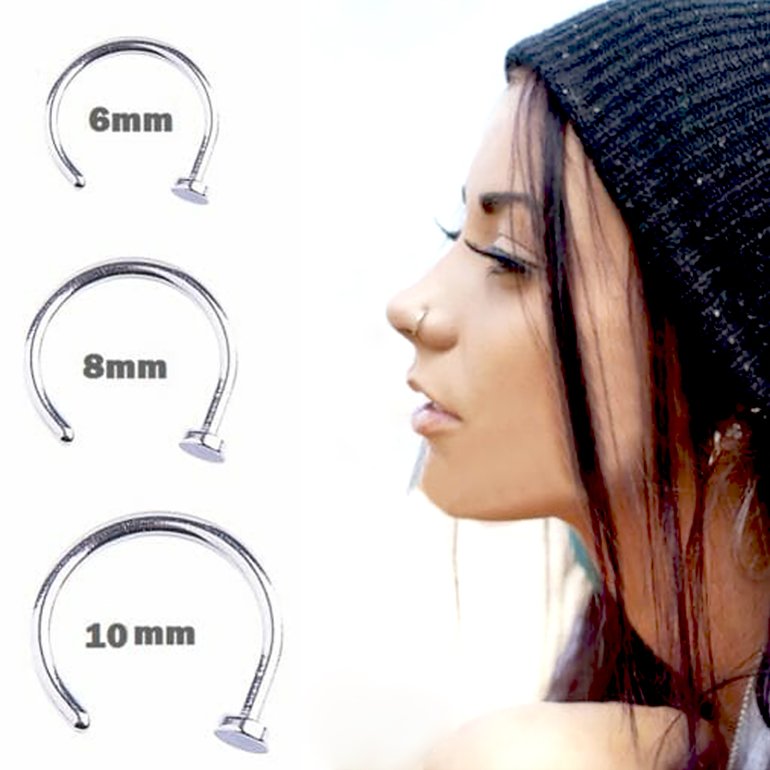 Nostril Hoop Stud Ring Clip On Piercing | Body Chain and ...