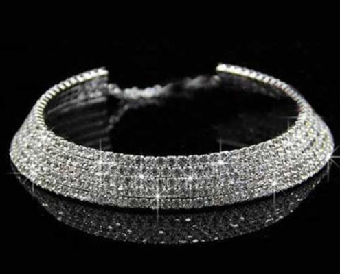 Rhinestone-Chokers-New2-495x400 Silver Rhinestone Choker Necklace for Women | 5 Rows Diamond CZ Crystals | Formal Choker Necklace Evening Wear