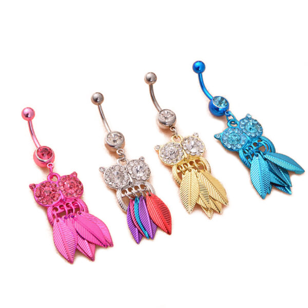 Belly Button Piercing Jewelry Crystal Owl Dangle Belly Button Ring