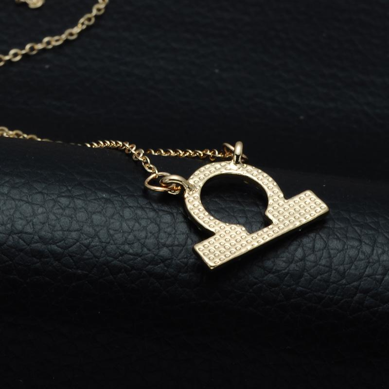 DSC_2544 Rhinestone Encrusted Libra Zodiac Constellation Necklace For Women