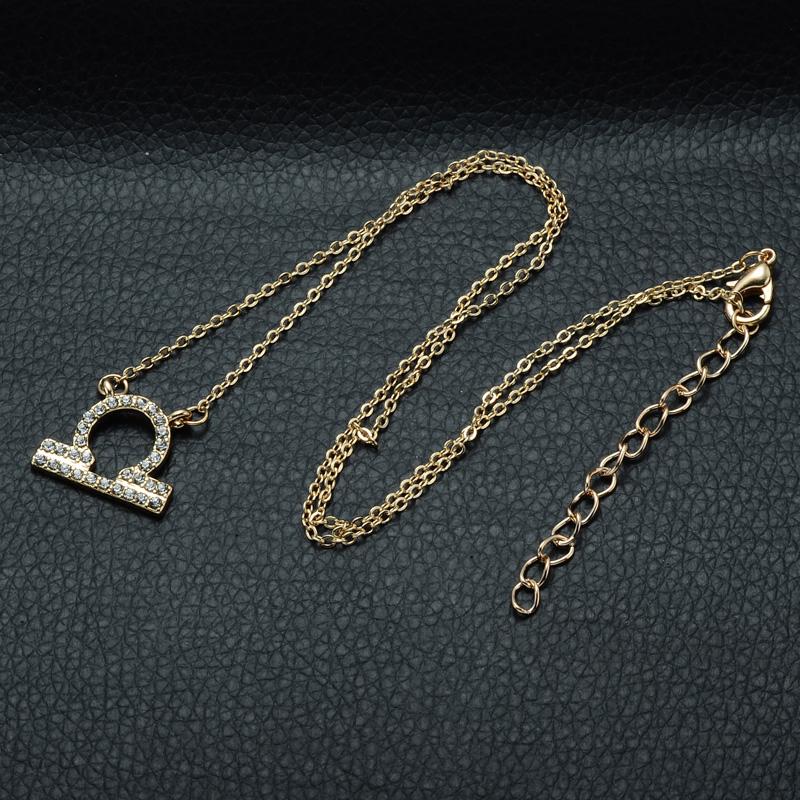 DSC_2545 Rhinestone Encrusted Libra Zodiac Constellation Necklace For Women