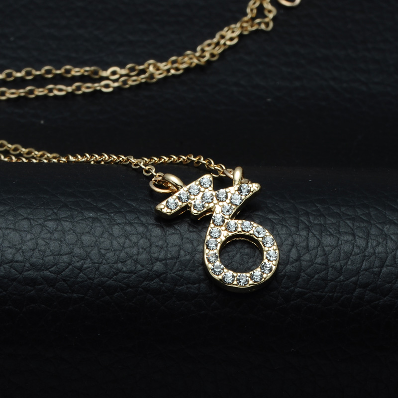 DSC_2546 Rhinestone Encrusted Capricorn Zodiac Constellation Necklace For Women