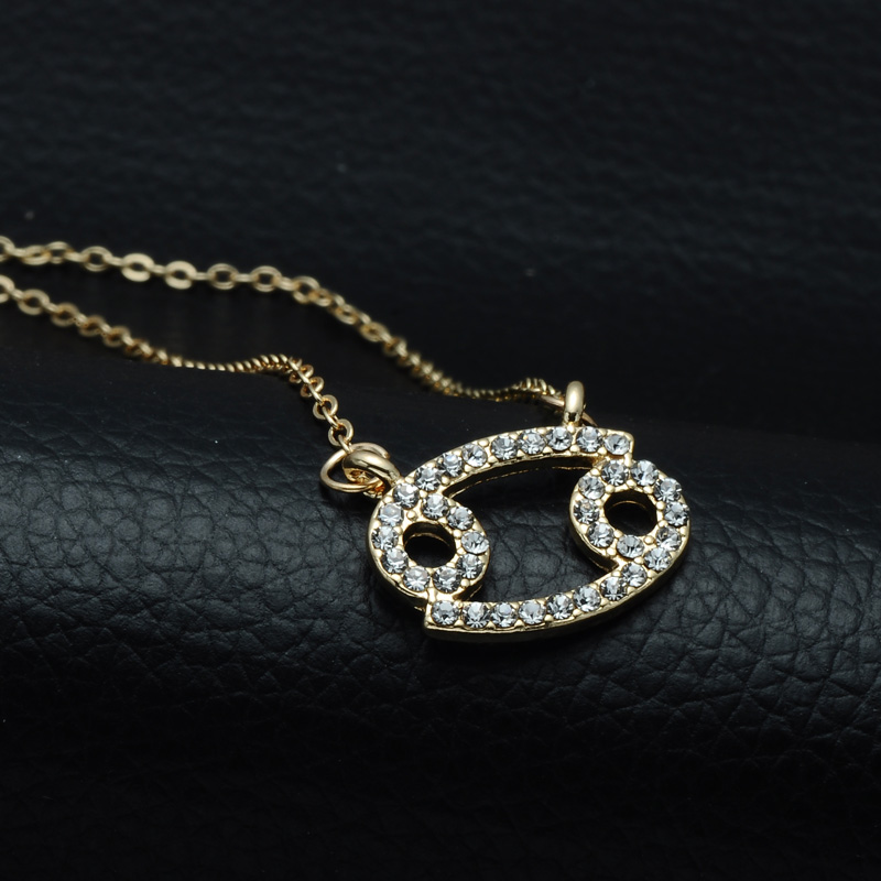 DSC_2552 Rhinestone Encrusted Cancer Zodiac Constellation Necklace For Women