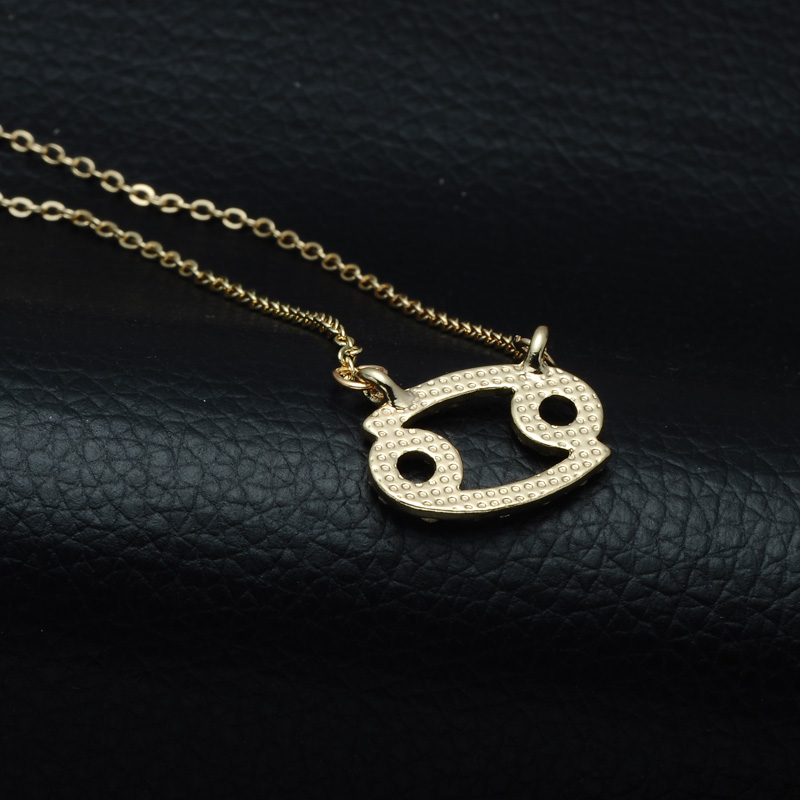 DSC_2553 Rhinestone Encrusted Cancer Zodiac Constellation Necklace For Women