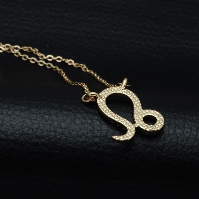 DSC_2556 Rhinestone Encrusted Leo Zodiac Constellation Necklace For Women