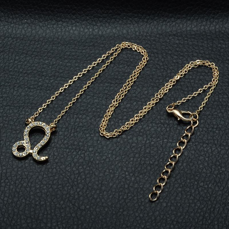 DSC_2557 Rhinestone Encrusted Leo Zodiac Constellation Necklace For Women
