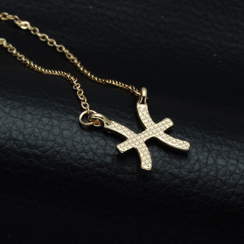 DSC_2559 Rhinestone Encrusted Pisces Zodiac Constellation Necklace For Women