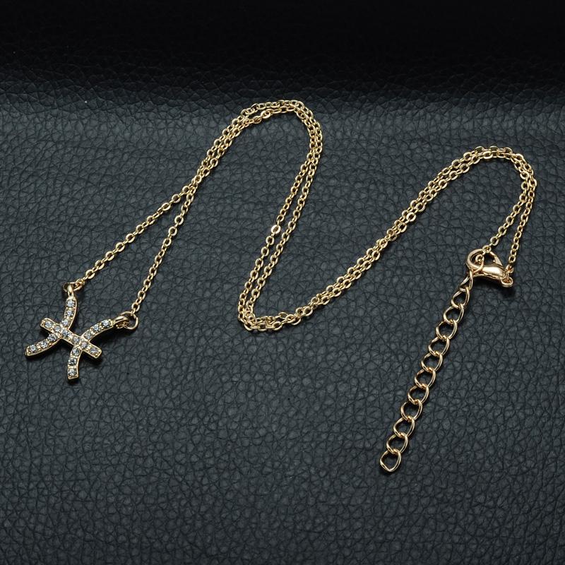 DSC_2560 Rhinestone Encrusted Pisces Zodiac Constellation Necklace For Women