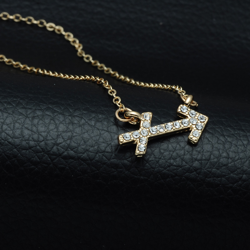 DSC_2570 Rhinestone Encrusted Sagittarius Zodiac Constellation Necklace For Women