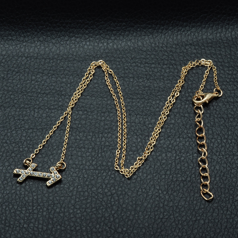 DSC_2572 Rhinestone Encrusted Sagittarius Zodiac Constellation Necklace For Women