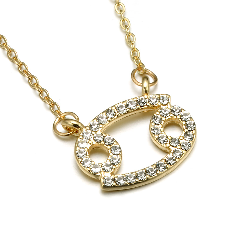 N08015 Rhinestone Encrusted Cancer Zodiac Constellation Necklace For Women