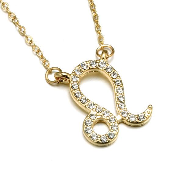 Rhinestone Encrusted Leo Zodiac Constellation Necklace For