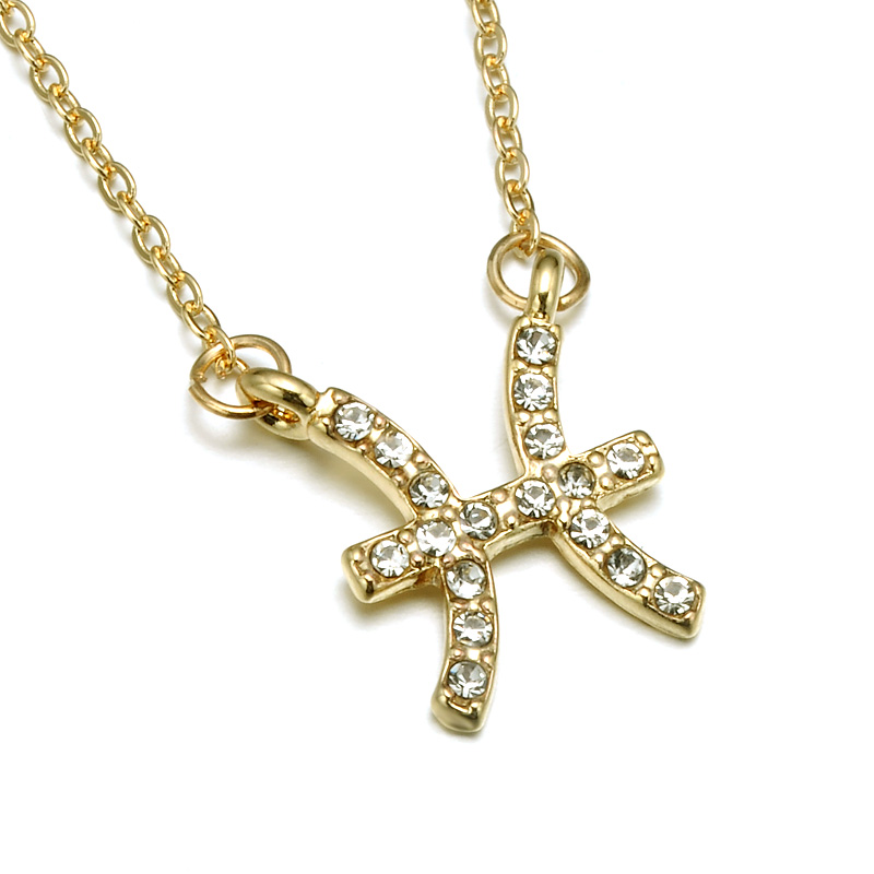 N08017 Rhinestone Encrusted Pisces Zodiac Constellation Necklace For Women