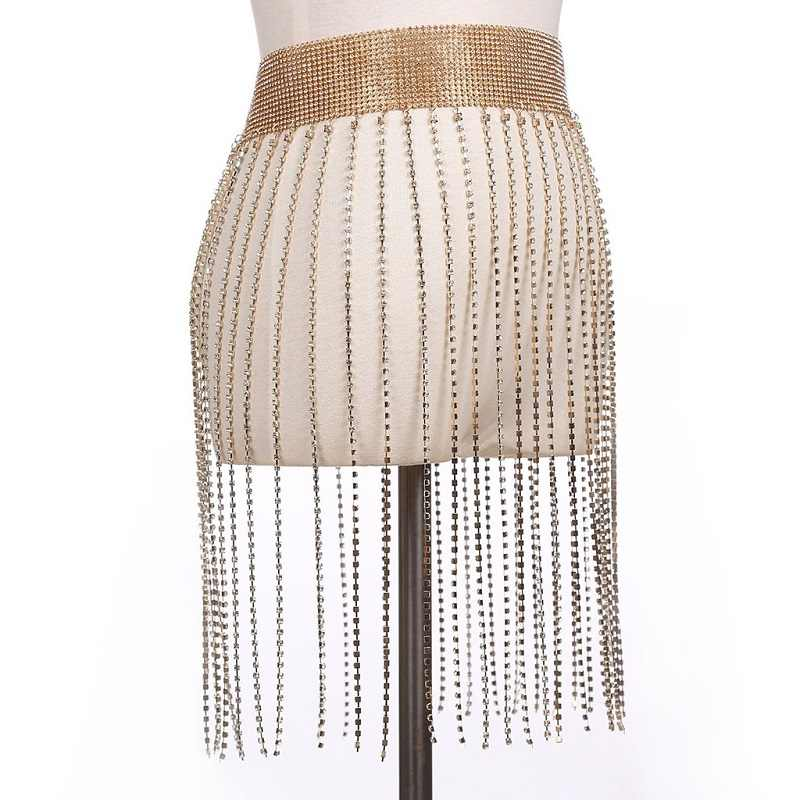 Festival-chain-belt-Sexy-rhinestone-body-chain-Women-glitter-crystal-chain-skirt-body-Jewelry-Beach-summer.jpg_q50 Metallic Fringe Skirt Waist Chain | Rhinestone Encrusted Drop Dangle Belly Chain Belt