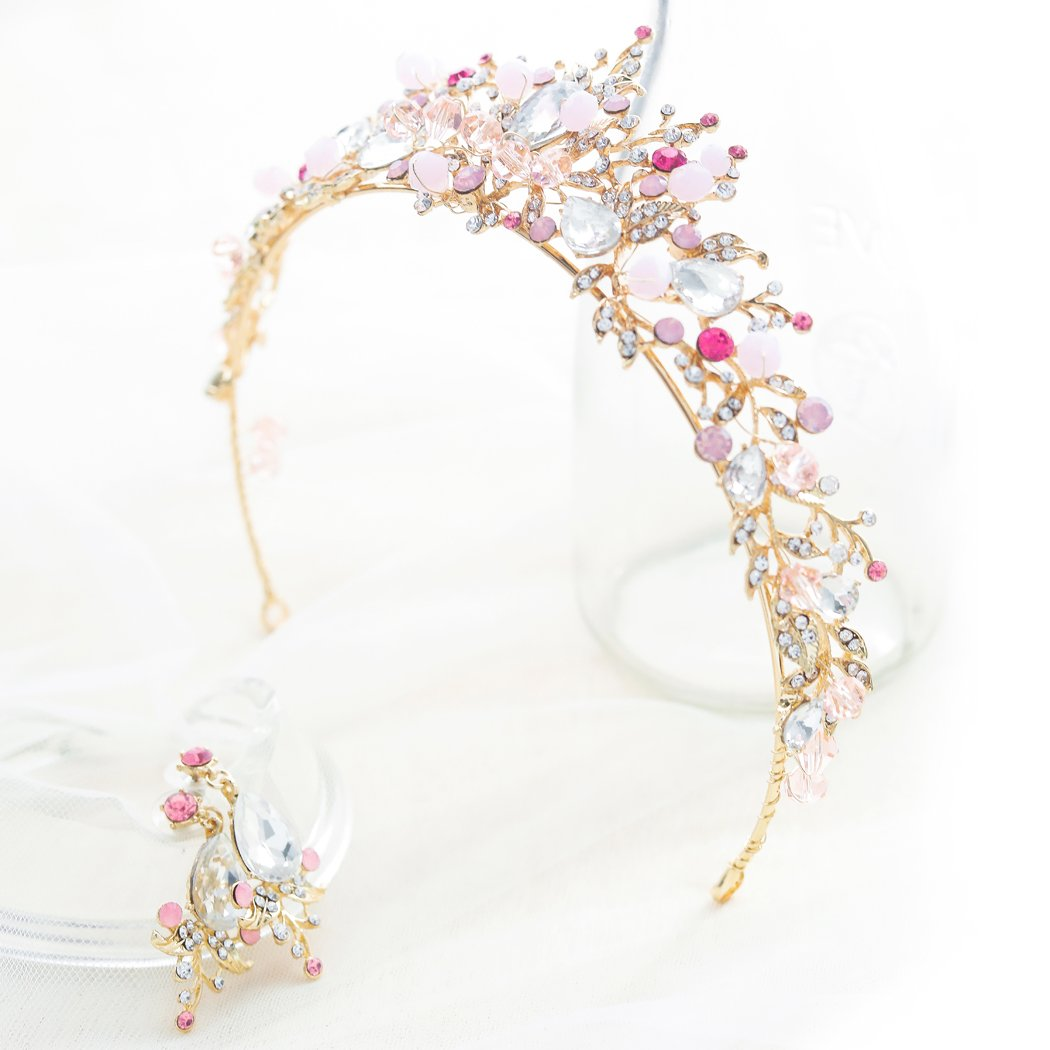 61IcXrA9J8L._SL1050_ Gold Princess Crown Tiara with Matching Earring Set | Sparkly Coral Reef Shaped Design + 2 FREE Hair Pins (Pink CZ Crystals)