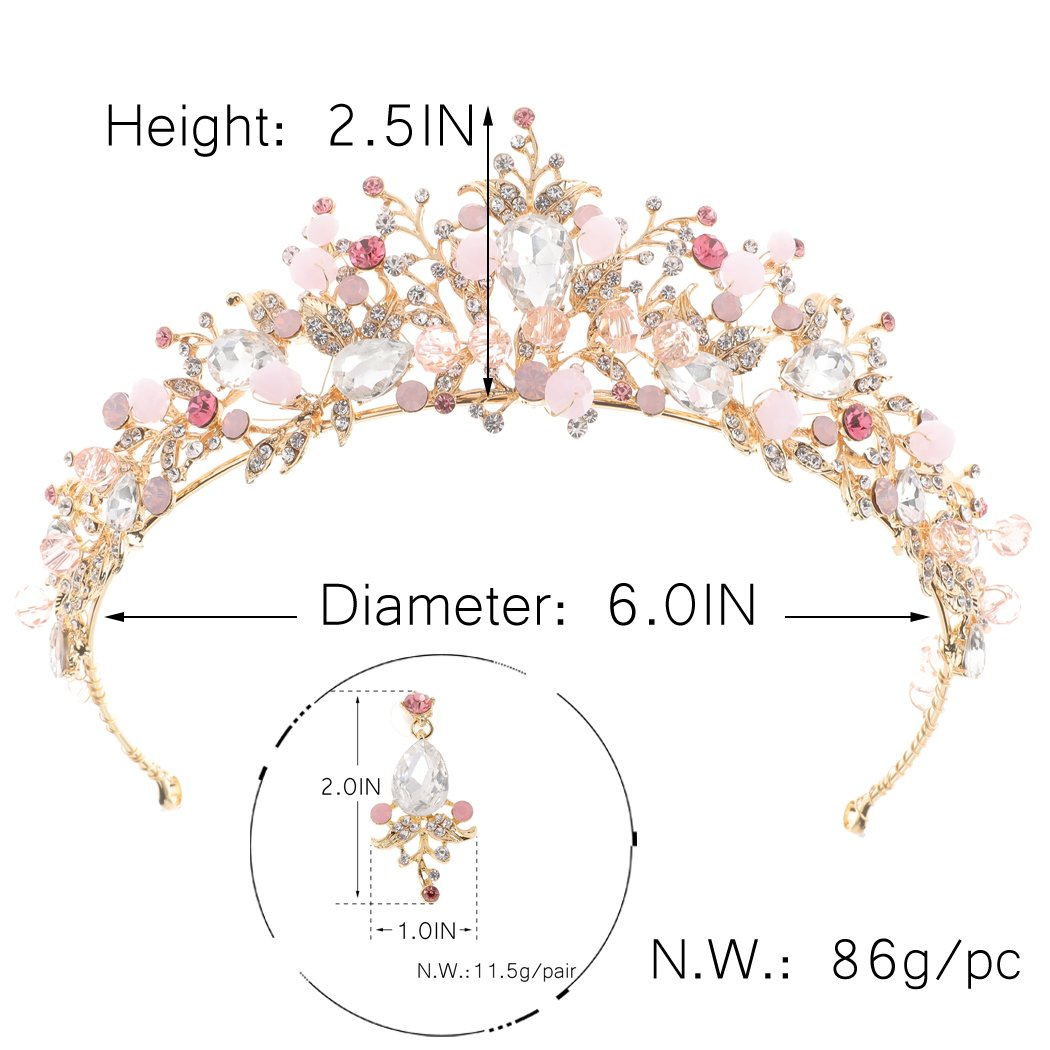 61Yil3-9DWL._SL1050_ Gold Princess Crown Tiara with Matching Earring Set | Sparkly Coral Reef Shaped Design + 2 FREE Hair Pins (Pink CZ Crystals)
