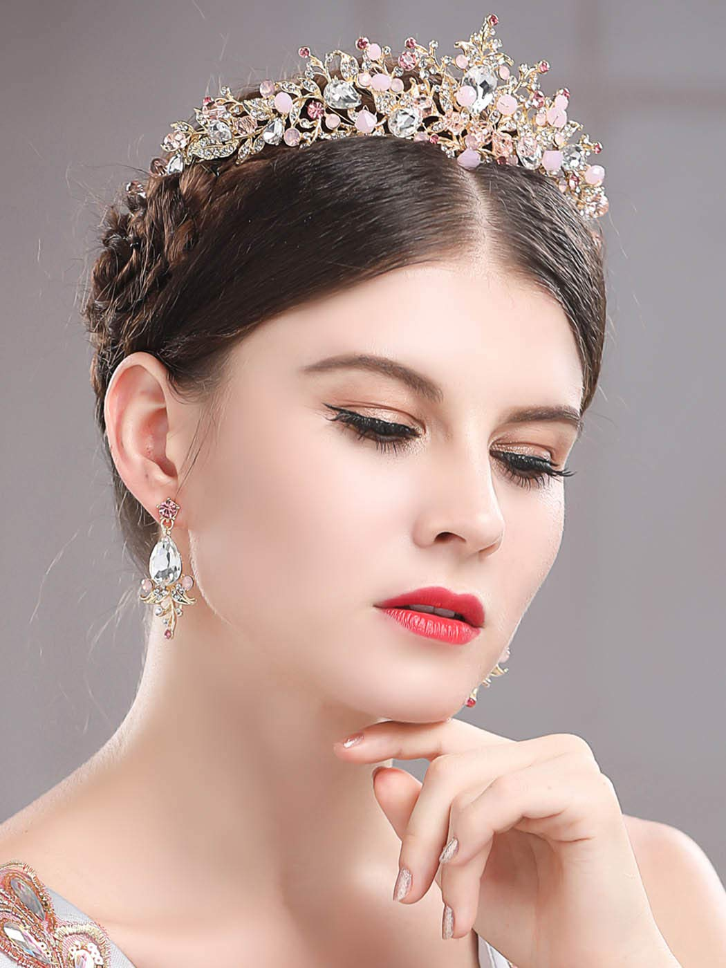 61bDildUGnL._SL1400_ Gold Princess Crown Tiara with Matching Earring Set | Sparkly Coral Reef Shaped Design + 2 FREE Hair Pins (Pink CZ Crystals)