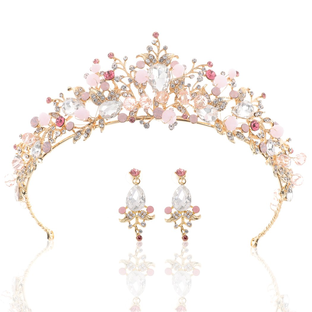 61wpH8ocz2L._SL1050_ Gold Princess Crown Tiara with Matching Earring Set | Sparkly Coral Reef Shaped Design + 2 FREE Hair Pins (Pink CZ Crystals)