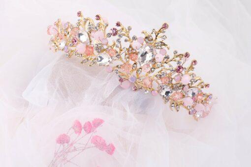 pink mermaid tiara with seaweed cz crystals + earrings