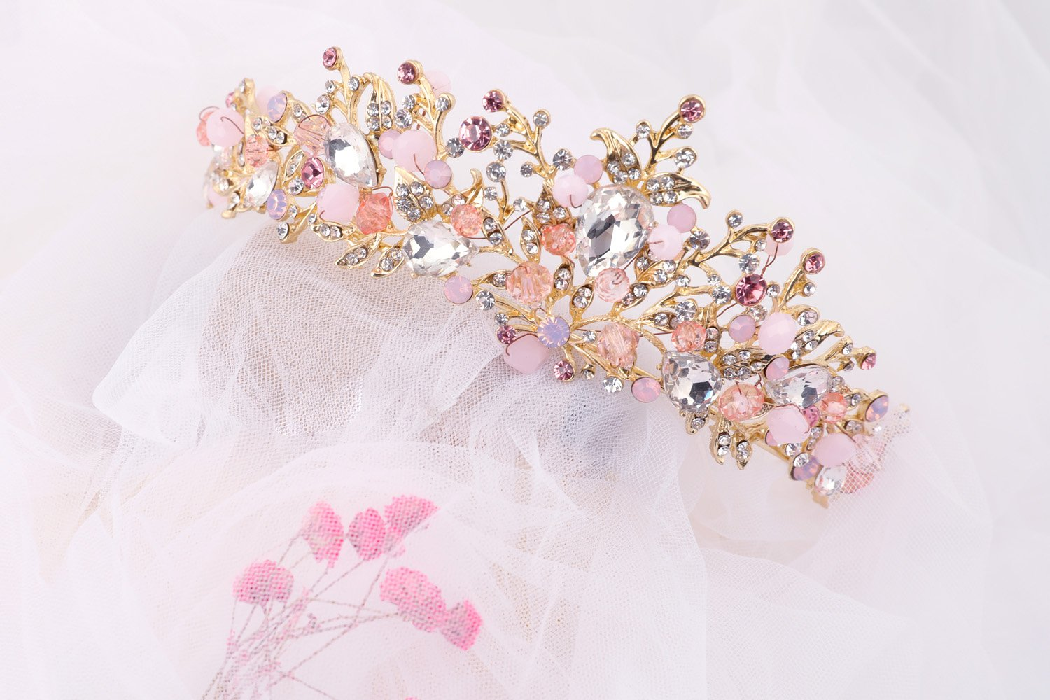 7171RuWjBWL._SL1500_ Gold Princess Crown Tiara with Matching Earring Set | Sparkly Coral Reef Shaped Design + 2 FREE Hair Pins (Pink CZ Crystals)