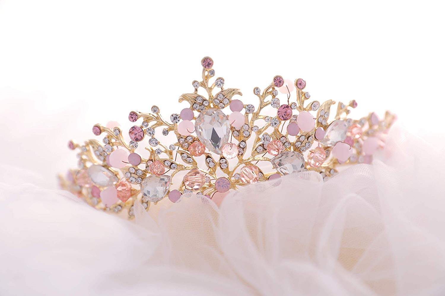71JYUPO9jHL._SL1500_ Gold Princess Crown Tiara with Matching Earring Set | Sparkly Coral Reef Shaped Design + 2 FREE Hair Pins (Pink CZ Crystals)