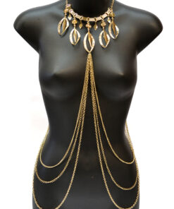 Gold Body Chain and Statement Necklace Body Jewelry