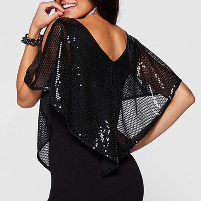 4 Sexy Sequins V Neck Off Shoulders Going Out Party Tops for Women   Batwing Sleeves Cold Shoulder Design Blouses for Women