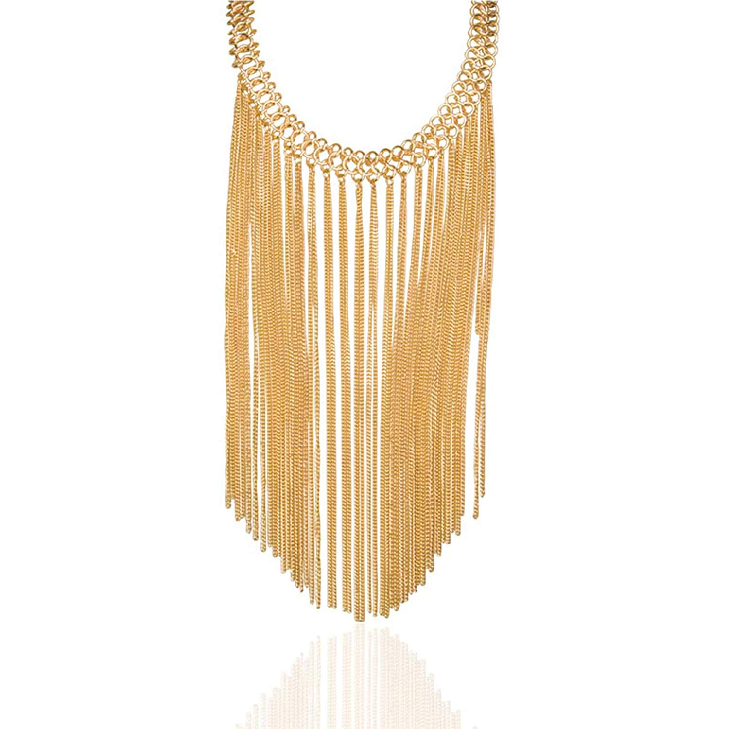 71R8B3qUwWL._UL1500_ Gold Multi Layered Drop Dangle Long Chain Tassel Statement Necklace for Women