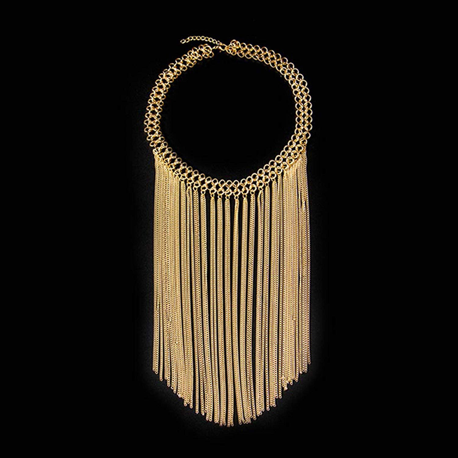 71Rj95VnmOL._UL1500_ Gold Multi Layered Drop Dangle Long Chain Tassel Statement Necklace for Women