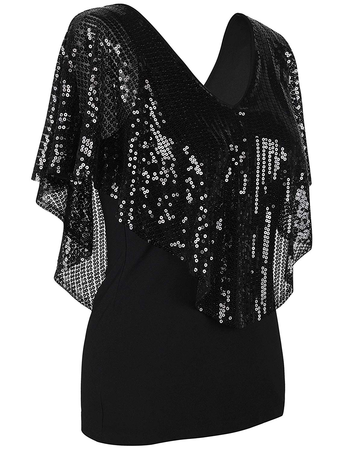 8 Sexy Sequins V Neck Off Shoulders Going Out Party Tops for Women   Batwing Sleeves Cold Shoulder Design Blouses for Women