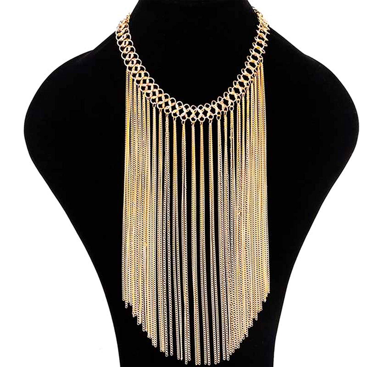 81Ke5cKxVsL._UL1500_ Gold Multi Layered Drop Dangle Long Chain Tassel Statement Necklace for Women