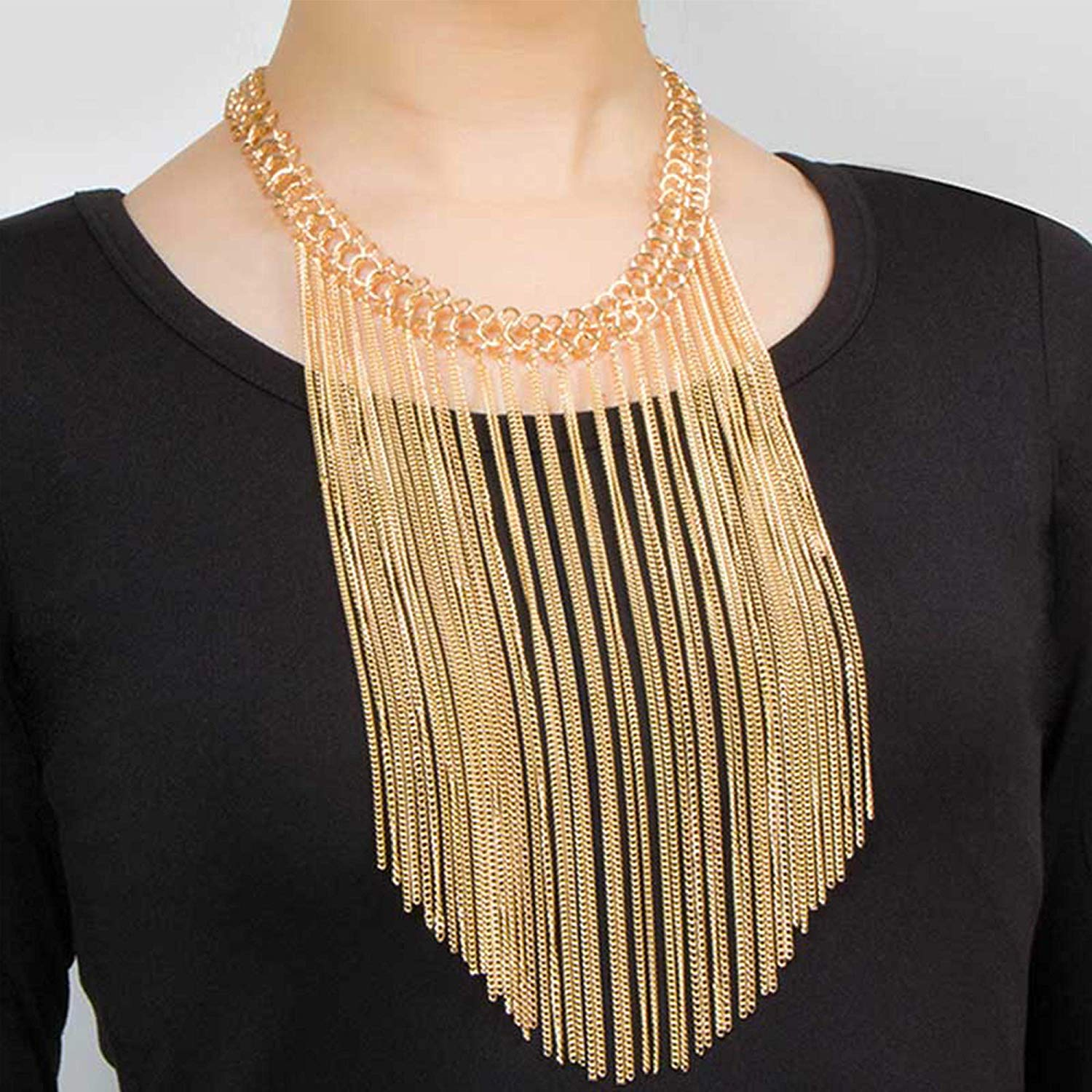 81U85A9Yq7L._UL1500_ Gold Multi Layered Drop Dangle Long Chain Tassel Statement Necklace for Women