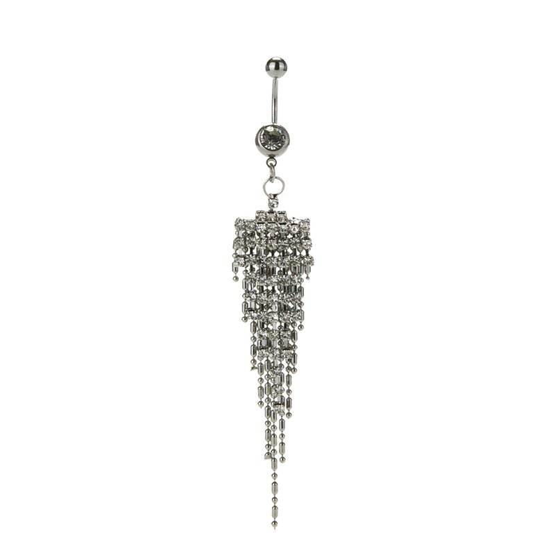 16 Pretty CZ Crystal Flower Body Jewelry Belly Button Dangle Drop Ring