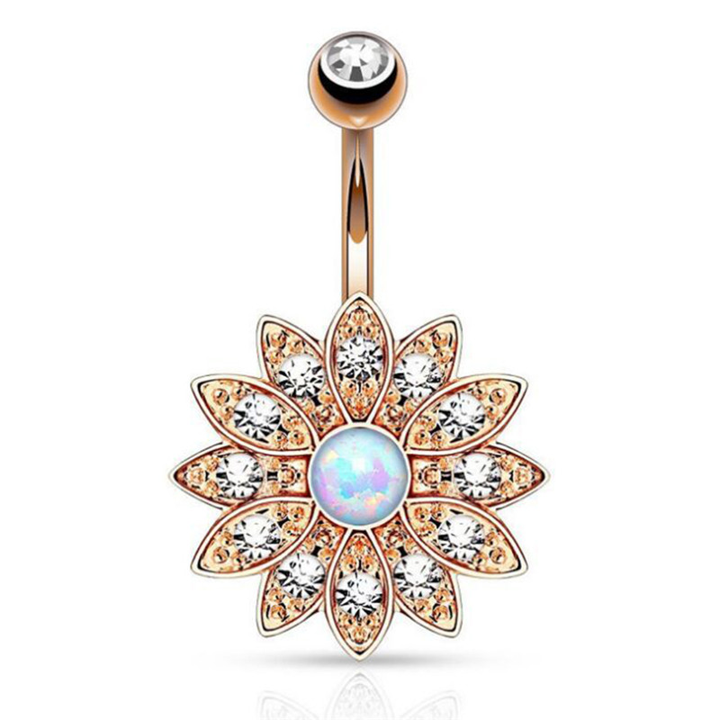 17 Pretty CZ Crystal Flower Body Jewelry Belly Button Dangle Drop Ring