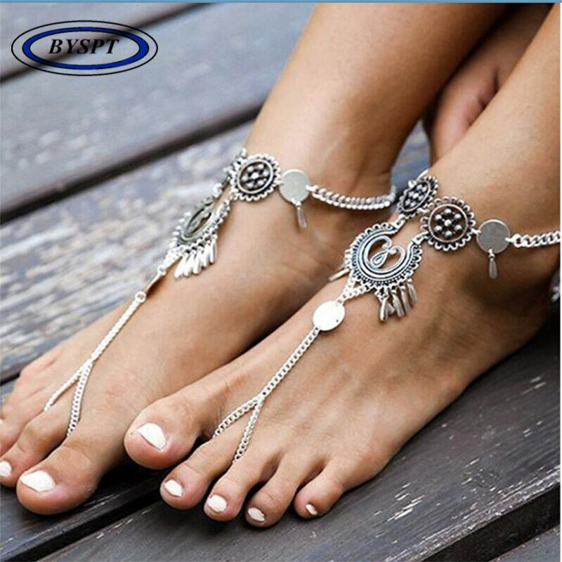 18-1 Bohemian Barefoot Beach Sandals Anklet Jewelry
