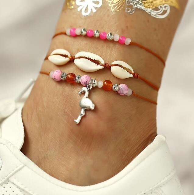 2 Bohemian Barefoot Beach Sandals Anklet Jewelry