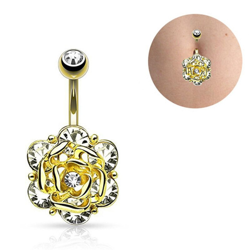 28 Pretty CZ Crystal Flower Body Jewelry Belly Button Dangle Drop Ring