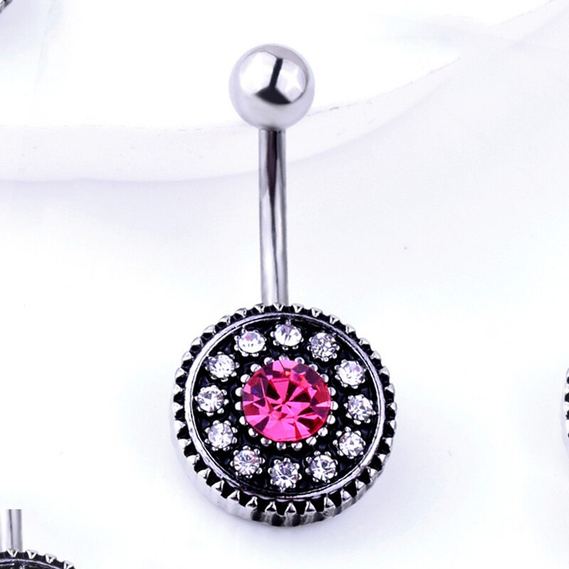 29 Pretty CZ Crystal Flower Body Jewelry Belly Button Dangle Drop Ring