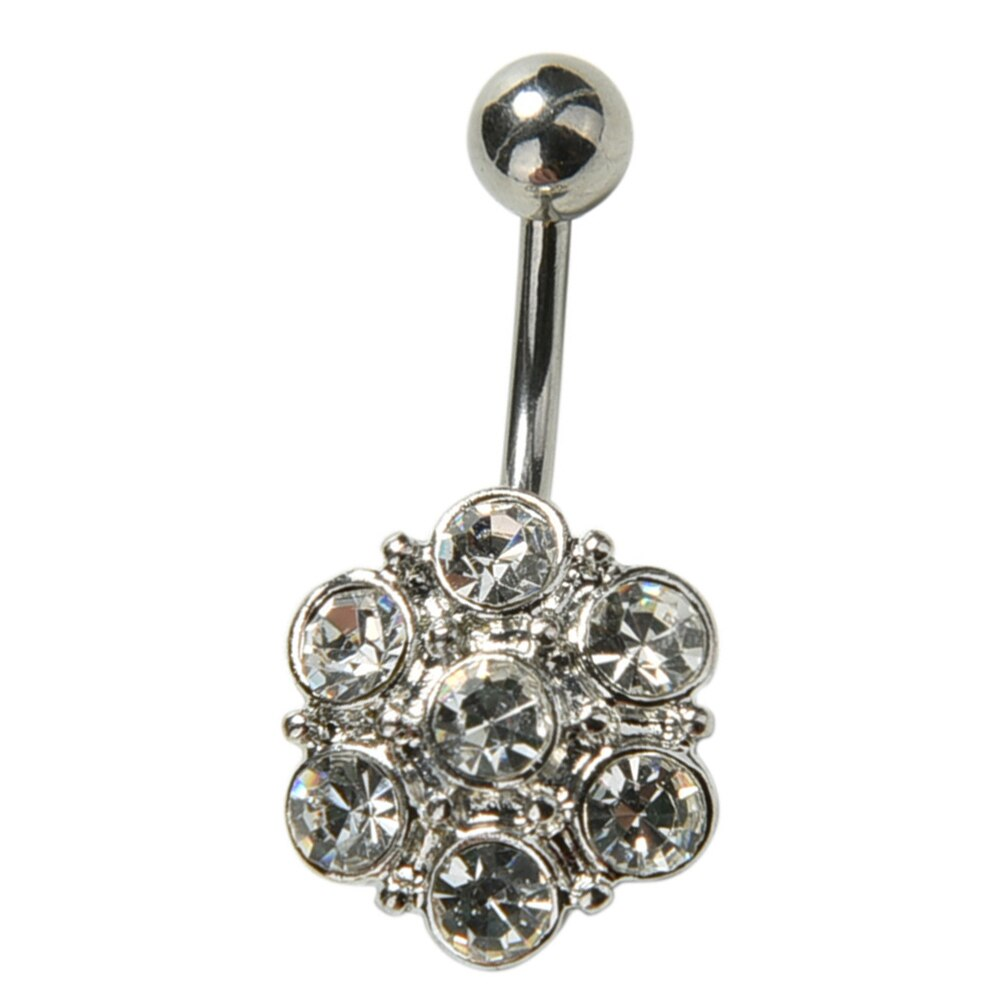 3 Pretty CZ Crystal Flower Body Jewelry Belly Button Dangle Drop Ring