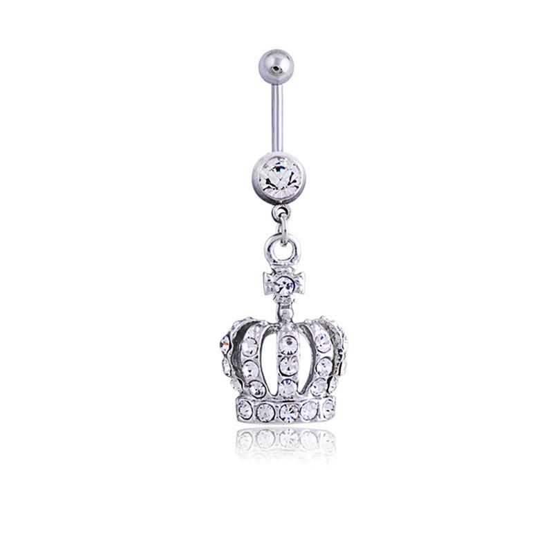30 Pretty CZ Crystal Flower Body Jewelry Belly Button Dangle Drop Ring