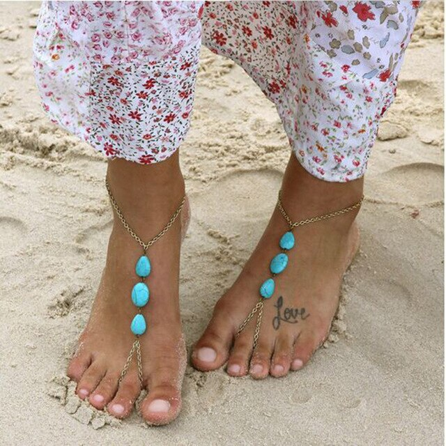 4-1 Bohemian Barefoot Beach Sandals Anklet Jewelry