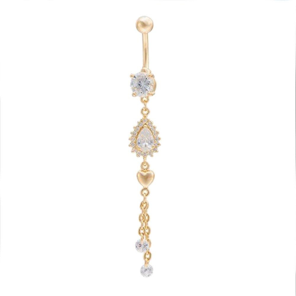 6 Pretty CZ Crystal Flower Body Jewelry Belly Button Dangle Drop Ring