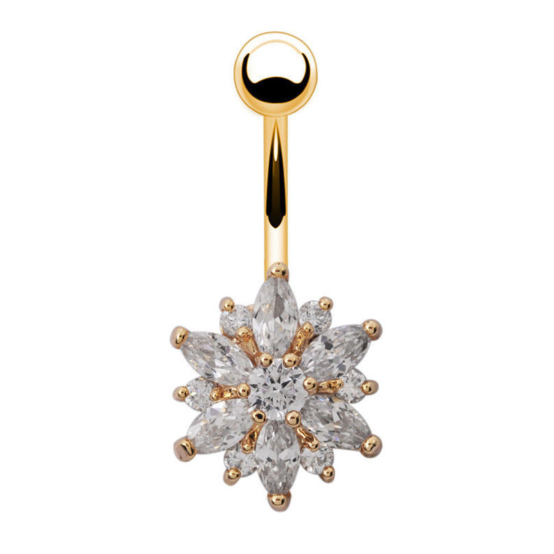 7 Pretty CZ Crystal Flower Body Jewelry Belly Button Dangle Drop Ring